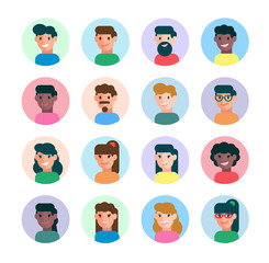 People avatars collection, different male and female characters in flat style. Vector illustration, isolated on white background, design template