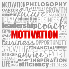 MOTIVATION word cloud collage, coaching concept background