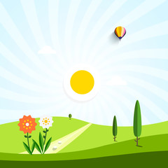 Vector Flat Design Landscape. Field with Flowers and Path. Empty Park.
