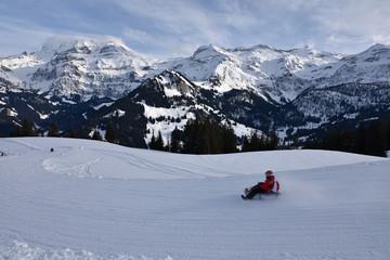 Luge à Lenk dans l'Oberland bernois en Suisse