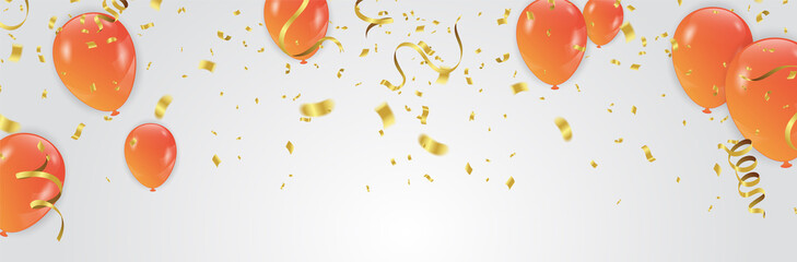 Vector Illustration of Orange Balloons celebration background template Fotomurales