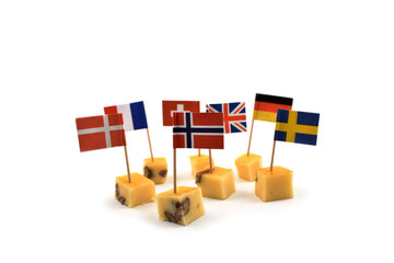 Cheese cubes with flags stock images. World Flag Toothpick images. Different types of flags. National flag on white background. Flag decorations for party