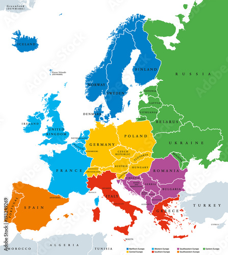 Regions of Europe, political map, with single countries and English ...