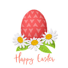 Easter red egg and daisy wreath. Decorated festive egg with simple abstract ornaments. Spring holiday. Vector