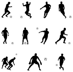 Vector illustration of soccer players silhouettes