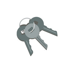 Bunch of three metallic keys hanging on ring. Key from car, house door and safe box. Concept of safety. Cartoon icon in flat style. Colored vector design