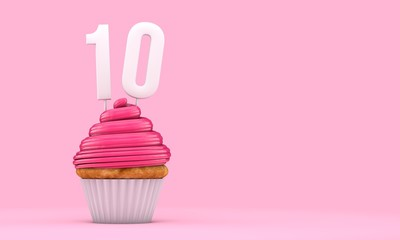 Number 10 pink birthday celebration cupcake. 3D Rendering