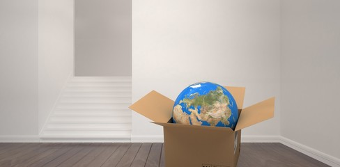 Composite image of 3d image of globe in cardboard box