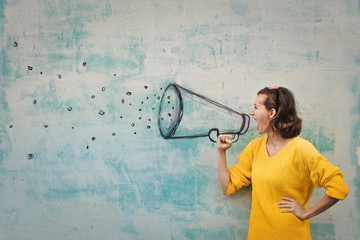 Shouting in the megaphone Wall mural