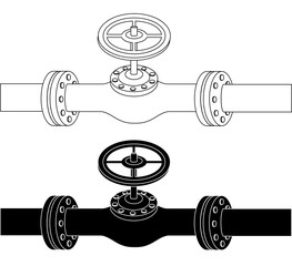 Pipe with valve drawing black and white vector eps 10