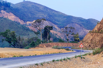 tricky, sharp curve, s-curve road on mountain to Luang Pra Bang Laos