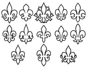 lily flowers thin line icons set- heraldic symbol fleur de lis