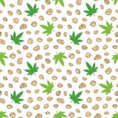 Doodle, hand drawn hemp seeds and leaves, trendy superfood seamless pattern background.