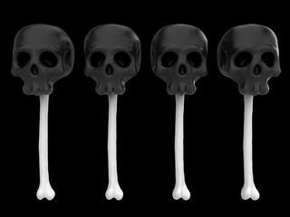 Cartoon funny candy in form of skull on bone. Stylish cute colorful children illustration isolated on simple background. Template for design project. Realistic 3d render.