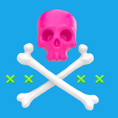 Cartoon funny skull with crossbones. Stylish cute colorful children illustration isolated on simple background. Template for design project. Realistic 3d render.