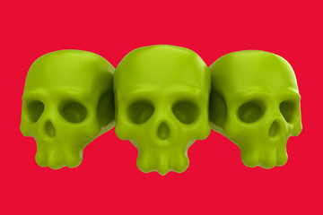 Cartoon funny three skull. Stylish cute colorful children illustration isolated on simple background. Template for design project. Realistic 3d render.