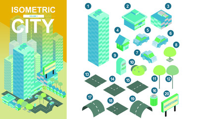 Flat isometric city blocks with roads and crossroads vector illustration volume1