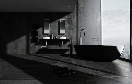 Dark modern luxury bathroom interior