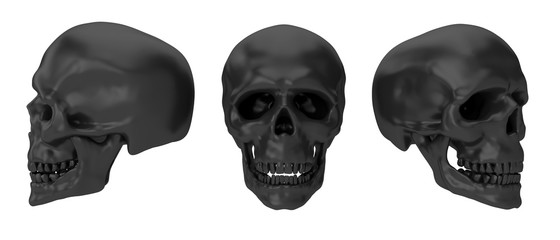 Realistic human skull isolated on white background. Creative design concept for print, cover, banner poster. 3d illustration.