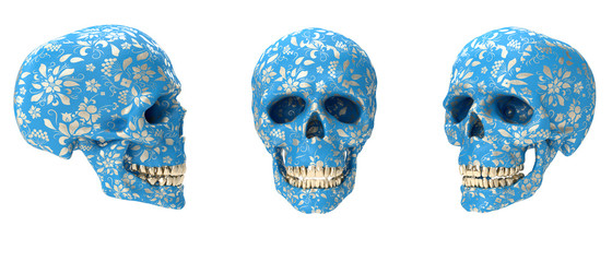 Realistic colorful human skull with golden ornament isolated on white background. Modern fashion 3d illustration. Creative design concept for print, cover, banner poster.