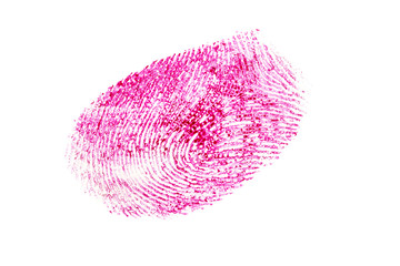 pink fingerprint isolated on a white background