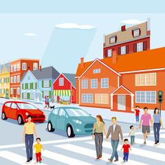 Stadt mit Fußgängerüberweg und Autos, Illustration
