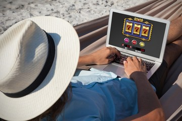 Composite image of slot machine with icons and symbols on mobile