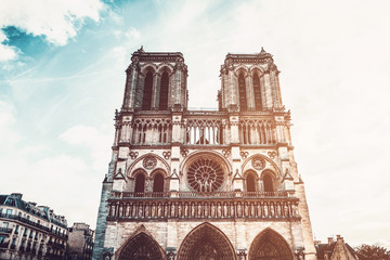 Notre-Dame Cathedral against sun, Paris, France