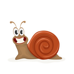 Happy snail on white background