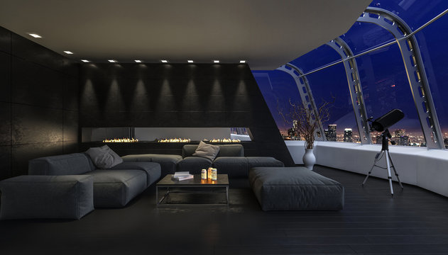 An open roof living room under the night sky