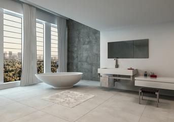Contemporary bathroom with city views