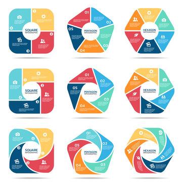 Square pentagon and hexagon infographic (part four, part Five and part six) vector set design