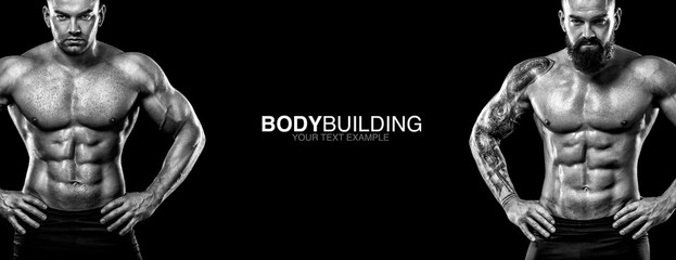 Sports wallpaper on dark background. Power athletic guy bodybuilder. Sport nutrition banner.
