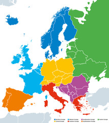 Regions of Europe, political map, with single countries. Northern, Western, Southeastern, Eastern, Central, Southern and Southwestern Europe in different colors. English labeling. Illustration. Vector
