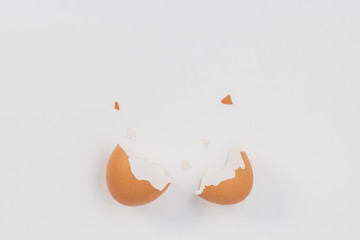 Broken egg  on white background