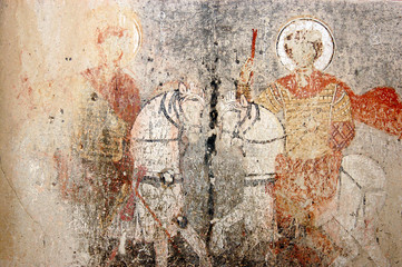 Frescos and murals in a cave chapel