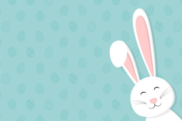 Background with Easter bunny and copyspace. Vector.