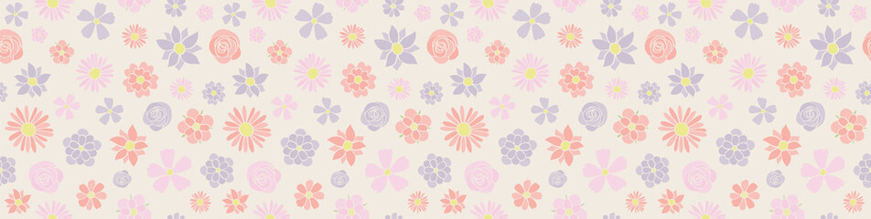 Cute header with pastel coloured flowers - seamless texture. Vector.