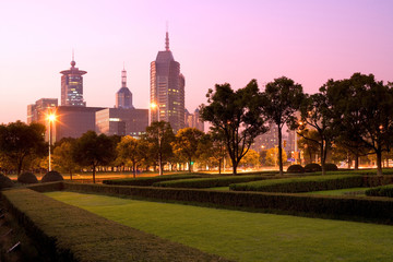 Skyline of office buildings at Century Avenue, Pudong, Shanghai, China, Asia