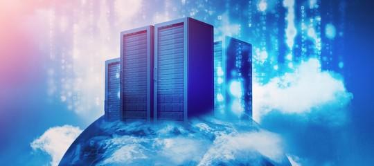 Server racks against sky and cloud