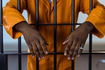 cropped image of african american prisoner behind prison bars