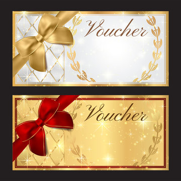 Voucher, Gift certificate, Coupon template. White and red background design with red bow (ribbon)  for ticket, money design, check (cheque)