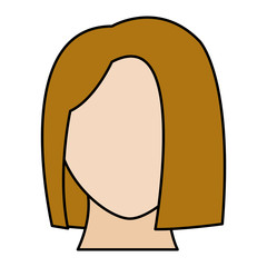 line color avatar woman head with default face