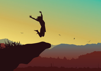 Freedom and independence concept background, Silhouette of a happy woman jumping on top of the mountain - Vector illustration