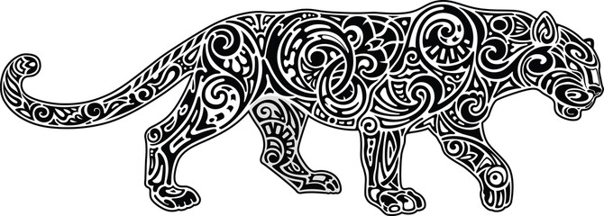 Panther, white-black image