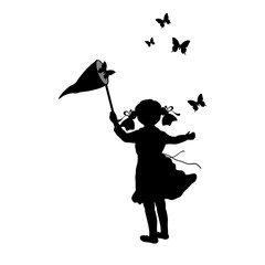 Silhouette girl with butterfly net