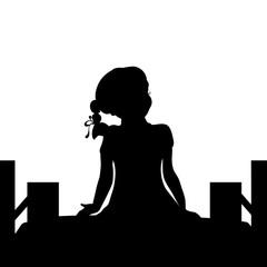Silhouette girl sit bridge dreams