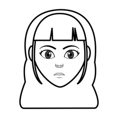 line woman head with facial expression and hairstyle