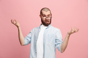 The crazy man in stress isolated on pink