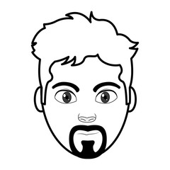 line avatar man head with facial expression